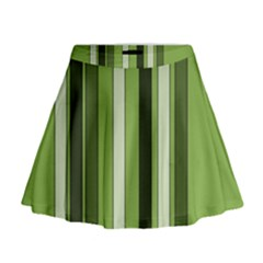 Greenery Stripes Pattern 8000 Vertical Stripe Shades Of Spring Green Color Mini Flare Skirt