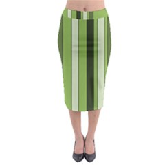 Greenery Stripes Pattern 8000 Vertical Stripe Shades Of Spring Green Color Midi Pencil Skirt