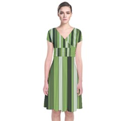 Greenery Stripes Pattern 8000 Vertical Stripe Shades Of Spring Green Color Short Sleeve Front Wrap Dress