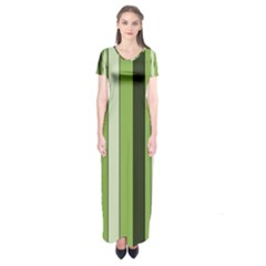 Greenery Stripes Pattern 8000 Vertical Stripe Shades Of Spring Green Color Short Sleeve Maxi Dress