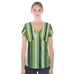 Greenery Stripes Pattern 8000 Vertical Stripe Shades Of Spring Green Color Short Sleeve Front Detail Top