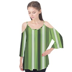 Greenery Stripes Pattern 8000 Vertical Stripe Shades Of Spring Green Color Flutter Tees