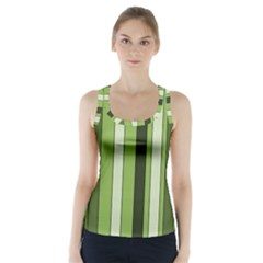 Greenery Stripes Pattern 8000 Vertical Stripe Shades Of Spring Green Color Racer Back Sports Top