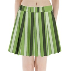 Greenery Stripes Pattern 8000 Vertical Stripe Shades Of Spring Green Color Pleated Mini Skirt