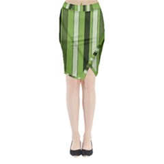 Greenery Stripes Pattern 8000 Vertical Stripe Shades Of Spring Green Color Midi Wrap Pencil Skirt