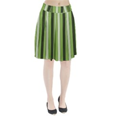 Greenery Stripes Pattern 8000 Vertical Stripe Shades Of Spring Green Color Pleated Skirt
