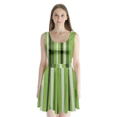 Greenery Stripes Pattern 8000 Vertical Stripe Shades Of Spring Green Color Split Back Mini Dress