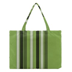 Greenery Stripes Pattern 8000 Vertical Stripe Shades Of Spring Green Color Medium Tote Bag