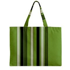 Greenery Stripes Pattern 8000 Vertical Stripe Shades Of Spring Green Color Medium Zipper Tote Bag