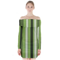 Greenery Stripes Pattern 8000 Vertical Stripe Shades Of Spring Green Color Long Sleeve Off Shoulder Dress