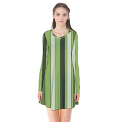 Greenery Stripes Pattern 8000 Vertical Stripe Shades Of Spring Green Color Flare Dress