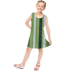 Greenery Stripes Pattern 8000 Vertical Stripe Shades Of Spring Green Color Kids  Tunic Dress