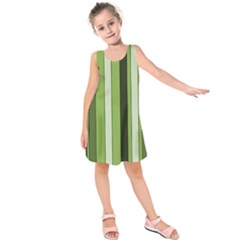 Greenery Stripes Pattern 8000 Vertical Stripe Shades Of Spring Green Color Kids  Sleeveless Dress