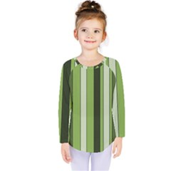 Greenery Stripes Pattern 8000 Vertical Stripe Shades Of Spring Green Color Kids  Long Sleeve Tee