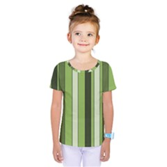 Greenery Stripes Pattern 8000 Vertical Stripe Shades Of Spring Green Color Kids  One Piece Tee