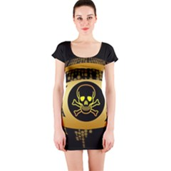 Virus Computer Encryption Trojan Short Sleeve Bodycon Dress