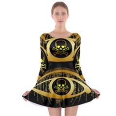 Virus Computer Encryption Trojan Long Sleeve Skater Dress