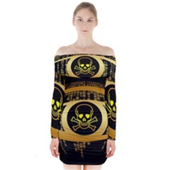 Virus Computer Encryption Trojan Long Sleeve Off Shoulder Dress