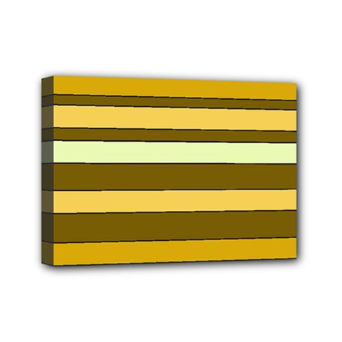 Elegant Shades of Primrose Yellow Brown Orange Stripes Pattern Mini Canvas 7  x 5