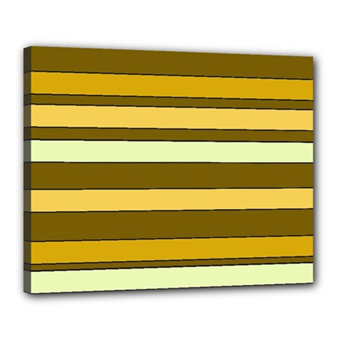 Elegant Shades of Primrose Yellow Brown Orange Stripes Pattern Canvas 20  x 16