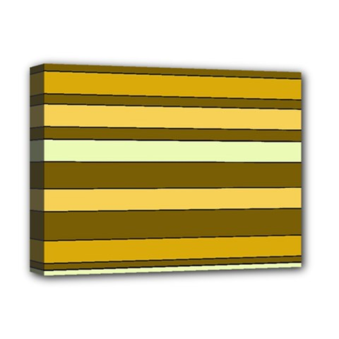 Elegant Shades of Primrose Yellow Brown Orange Stripes Pattern Deluxe Canvas 16  x 12