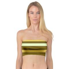Elegant Shades of Primrose Yellow Brown Orange Stripes Pattern Bandeau Top
