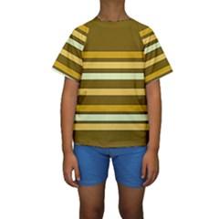 Elegant Shades of Primrose Yellow Brown Orange Stripes Pattern Kids  Short Sleeve Swimwear