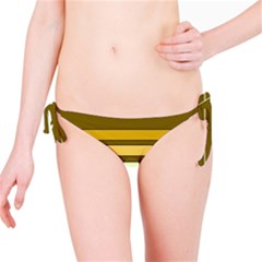 Elegant Shades of Primrose Yellow Brown Orange Stripes Pattern Bikini Bottom