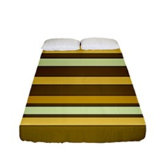 Elegant Shades of Primrose Yellow Brown Orange Stripes Pattern Fitted Sheet (Full/ Double Size)