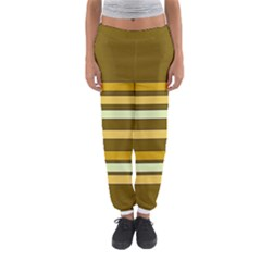 Elegant Shades of Primrose Yellow Brown Orange Stripes Pattern Women s Jogger Sweatpants