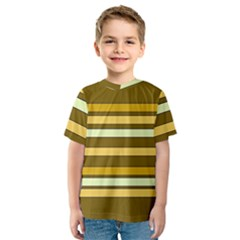 Elegant Shades of Primrose Yellow Brown Orange Stripes Pattern Kids  Sport Mesh Tee