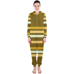 Elegant Shades of Primrose Yellow Brown Orange Stripes Pattern Hooded Jumpsuit (Ladies)
