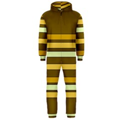 Elegant Shades of Primrose Yellow Brown Orange Stripes Pattern Hooded Jumpsuit (Men)