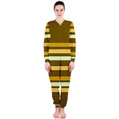 Elegant Shades of Primrose Yellow Brown Orange Stripes Pattern OnePiece Jumpsuit (Ladies)