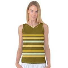 Elegant Shades of Primrose Yellow Brown Orange Stripes Pattern Women s Basketball Tank Top