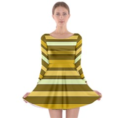 Elegant Shades of Primrose Yellow Brown Orange Stripes Pattern Long Sleeve Skater Dress