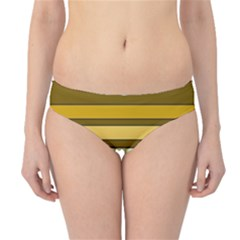Elegant Shades of Primrose Yellow Brown Orange Stripes Pattern Hipster Bikini Bottoms