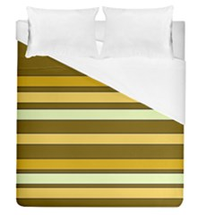 Elegant Shades of Primrose Yellow Brown Orange Stripes Pattern Duvet Cover (Queen Size)