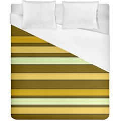 Elegant Shades of Primrose Yellow Brown Orange Stripes Pattern Duvet Cover (California King Size)