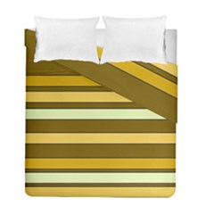Elegant Shades of Primrose Yellow Brown Orange Stripes Pattern Duvet Cover Double Side (Full/ Double Size)