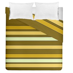 Elegant Shades of Primrose Yellow Brown Orange Stripes Pattern Duvet Cover Double Side (Queen Size)