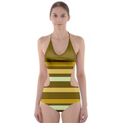 Elegant Shades of Primrose Yellow Brown Orange Stripes Pattern Cut-Out One Piece Swimsuit