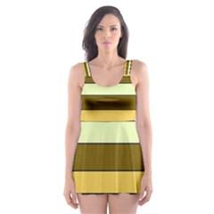Elegant Shades of Primrose Yellow Brown Orange Stripes Pattern Skater Dress Swimsuit
