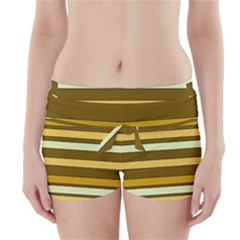 Elegant Shades of Primrose Yellow Brown Orange Stripes Pattern Boyleg Bikini Wrap Bottoms