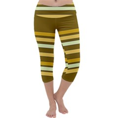 Elegant Shades of Primrose Yellow Brown Orange Stripes Pattern Capri Yoga Leggings