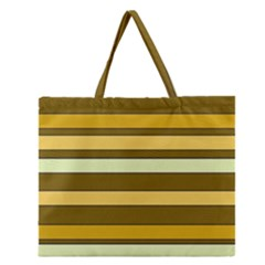 Elegant Shades of Primrose Yellow Brown Orange Stripes Pattern Zipper Large Tote Bag