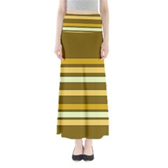 Elegant Shades of Primrose Yellow Brown Orange Stripes Pattern Maxi Skirts