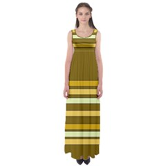 Elegant Shades of Primrose Yellow Brown Orange Stripes Pattern Empire Waist Maxi Dress