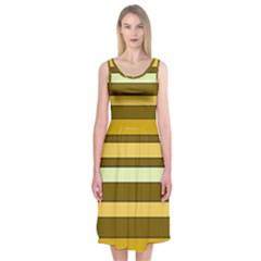 Elegant Shades Of Primrose Yellow Brown Orange Stripes Pattern Midi Sleeveless Dress