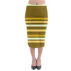 Elegant Shades Of Primrose Yellow Brown Orange Stripes Pattern Midi Pencil Skirt